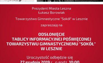 """Odsłonięcie tablicy TG """"Sokół"""" w Lesznie"""
